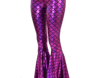 Bell Bottom Flares in Fuchsia Mermaid Scale Leggings with High Waist & Stretchy Holographic Nylon Spandex Fit  150806