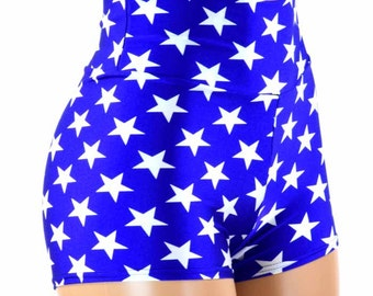 Blue and White Star Print High Waist Super Hero Booty Shorts  151195