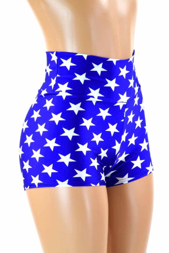 Blue and White Star Print High Waist Super Hero Booty Shorts