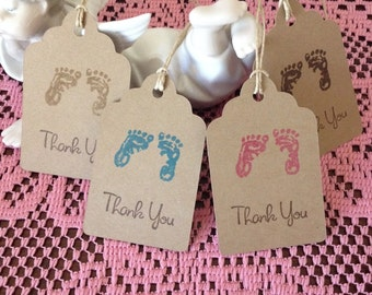 Baby Shower Tags, Kraft Brown Tags, Baby Shower Gift Tags, Vintage Inspired Baby, Gender Neutral Baby, Baby Footprint, Set of 12