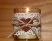 Rustic Wedding Light / Rustic Wedding Votive Candle Holder / Autumn Wedding / Shabby Chic Wedding / Crochet Lace Votive / Wood Heart / 6