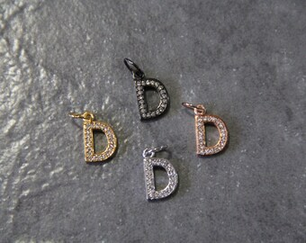 """CZ Micro Pave Letter """"D"""" Charm with Jump Ring"""
