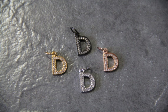 "CZ Micro Pave Letter ""D"" Charm with Jump Ring"