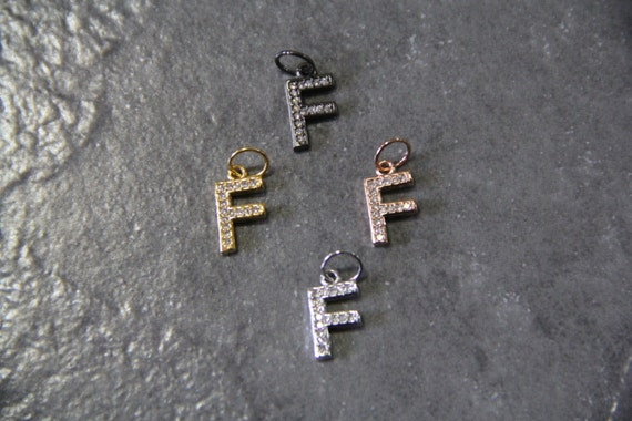 "CZ Micro Pave Letter ""F"" Charm with Jump Ring"