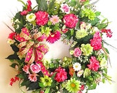 Pink Outdoor Wreath, Front Door Spring and Summer Wreath, Inside or Outside Wreath, Great 'Curb Appeal', Hydrangeas, Roses, Daisies, Dogwood