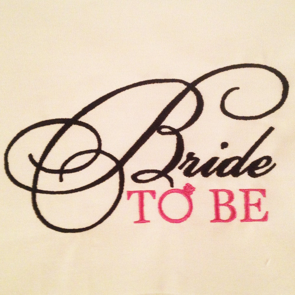 Bride to be with engagement ring machine embroidery design in