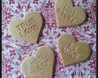Wooden Valentines Conversation Heart Coasters
