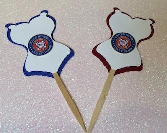 12 Coast Guard Corset Cupcake Toppers, Coast Guard Bachelorette Party Favors, Coast Guard Future Bride, Military Wedding, Military Decor
