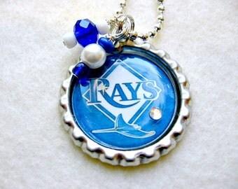 Tampa Bay Rays Baseball Pendant Necklace/Tampa Bay Rays Jewelry/Tampa Bay Rays Accessories/Tampa Bay Rays Clothing/Tampa Bay Rays Home