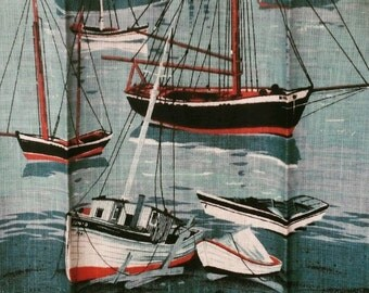Never Used Vintage Linen Towel by Bob Goryl - Nautical Decor