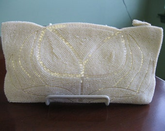 """Vintage '50's Ivory Beaded Clutch with """"Pearl"""" and Bugle Beads Perfect for the Bride"""
