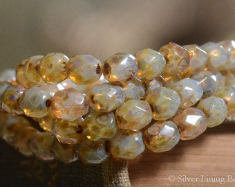 Golden Creme  (50) - Firepolished Czech Glass Bead - 4mm - Faceted Round