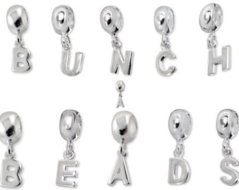BUNCHABEADS 925 Sterling Silver Dangling Initial Alphabet Letter Charm Bead - BD4507-4531