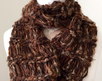 Fuzzy Open Knit Cowl, Super Soft Knit Cowl, Cozy Neckwarmer, Brown Knit Cowl