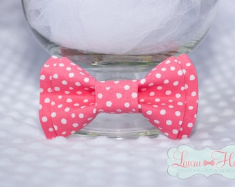 Bow Tie - CORAL bow tie, Coral polka dot bow tie, newborn toddler boys bow tie, mens coral bow tie, watermelon pink polka dot bow tie
