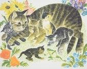 1958 Leonard Weisgard Illustration of Cat & Kittens, Farm Animals, Large Decorative Print, Full Color, School Poster, Vintage Wall Decor
