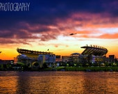 Heinz Field at Sunset (Pittsburgh, Steelers, helicopter)