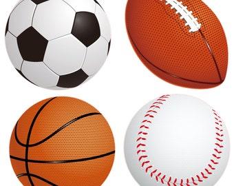 Sports Balls Fabric Removable Wall Decal Stickers 4 Piece Set Football, Basketball, Baseball, and Soccer Ball