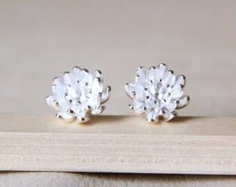 Sterling Silver Lotus Flower Stud Earrings. Simple Flower Earrings. Plant Earrings.