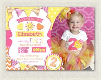 Sunshine Girls 1st 2nd 3rd Birthday Invitation Yellow Orange and Pink Birthday Party Invitation You Are My SUNSHINE Invitations