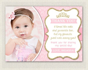 Gold and Pink Princess Thank You Card / Printable Download / Birthday Thank You Note / Glitter Gold Girls Birthday
