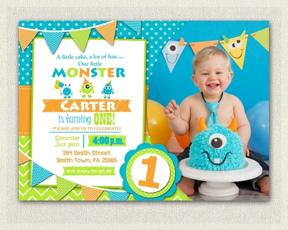 First Birthday Invitation Boys monster 1st Birthday Boys Monster