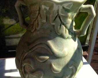 """Light Green Vase Large 10"""" x 6.5"""" Vintage Leaf & Floral Pattern Show piece"""