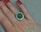 Platinum, Accented with 18K Yellow Gold Emerald and Diamond Ring