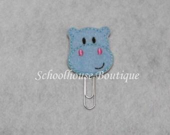 Baby Blue Hippo felt paperclip bookmark, felt bookmark, paperclip bookmark, feltie paperclip, christmas gift, teacher gift