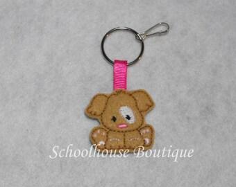 Tan Puppy Dog Felt Zipper Pull, Felt Keychain Fob, Felt Key Ring, Felt Key Fob, Purse Accessory, Luggage Tag