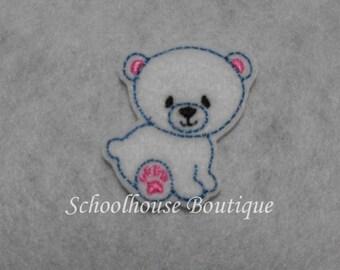 Sitting Polar Bear felties, feltie, machine embroidered, felt applique, felt embellishment, hairbow center, scrapbook embellishment