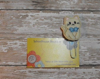 Kitty Cat with Blue Bow felt Paperclip bookmark, felt bookmark, paperclip bookmark, feltie paperclip, christmas gift, teacher gift