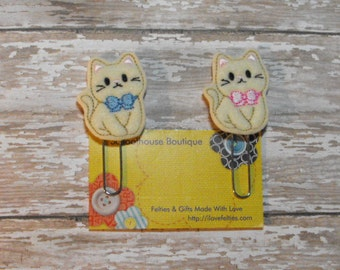 Set of 2 Kitty Cat felt paperclip bookmark, planner feltie, planner clip, felt bookmark, feltie paperclip, christmas gift, teacher gift
