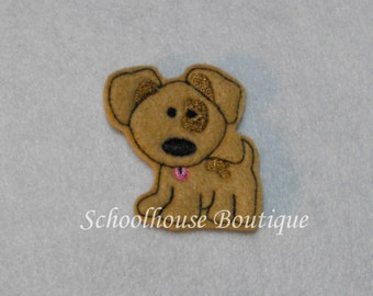 Spot Puppy Dog felties, feltie, Machine embroidered, felt applique, felt embellishment, hairbow center