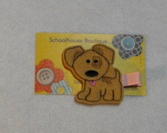 Tan Spot Puppy Dog Felt Hair Clips, Feltie Hair Clip, felt clippie, felt hair bow, felt hair clip, party favor