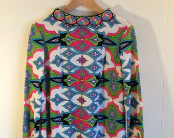Mod Psychedelic Dress by Mr Dino / Abstract  w Pucci Like Design / Rich Color & Pattern in Designer Dress / Medium Large