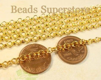 SALE 4 mm Gold-Plated Rolo Chain - Nickel Free and Lead Free - 3 meters (about 10 feet)