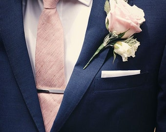 READY TO SHIP Silk Dupioni Men's necktie in Pale Pink (as shown) - Standard or Skinny -