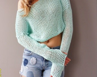 Cropped sweater. Summer cotton crop top. Knit cotton sweater.