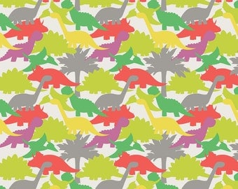 Lewis & Irene Patchwork Quilting Fabric - A002-1 Jurassic Coast Dinosaurs