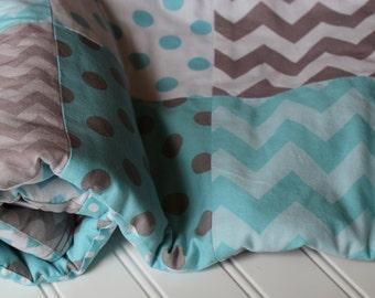 Minky Baby Patchwork Quilt - Aqua, Gray - Dots, Chevrons - Baby Quilt - Baby Blanket - Minky Baby Blanket