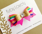 Baby/Girls Neon Bows, Neon Pink Bow Headband/Clip, Neon Bows, Pink Glitter Bow, Pink Summer Headband, Pink Gold Headband, Pink Birthday Bow