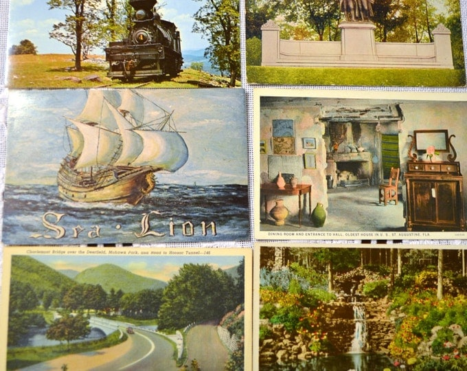 Vintage Postcard Set of 6 Canada Florida Wisconsin Massachusetts West Virginia New York VariousTravel Souvenirs PanchosPorch