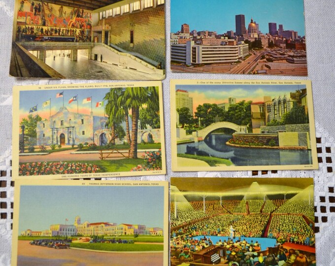 Vintage Postcard Set of 6 Texas Oslo Georgia New York VariousTravel Souvenirs PanchosPorch