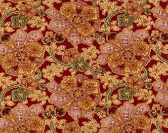 Cranston VIP Fabric floral mauve pink yellow rust flowers vine 100% cotton fabric by the yard
