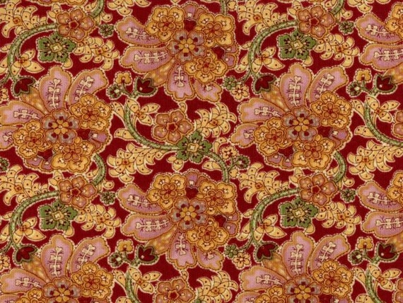 Cranston VIP Fabric Floral Mauve Pink Yellow Rust Flowers Vine