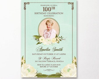 90th Birthday Invitation Photo Roses Floral Flowers Printable Suitable for 60th 80th 70th 50th 90th Milestone Birthday Watercolour Yellow