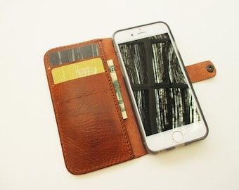 Leather iPhone Se, iPhone 6/6ss, iPhone 5/5s case and wallet  in cognac, handmade sleeve, cover