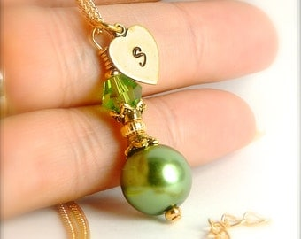 Olive Initial Bridesmaid Jewelry, Olive Charm Letter Bridesmaid Necklace, Wedding Jewelry Olive, Olive Bridesmaid Pendant Necklace