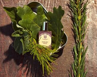 Heroic oud - Natural perfume,woody and sharp, with agarwood, green pepper, laurel leaf, cinnamon, tobacco, oakmoss.  Flacon.